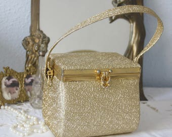 Vintage Faux Leather Small Gold Evening Purse, Beauty Case Model, Japan