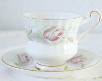 Vintage Paragon Lady Size Cup and Saucer, White and Mint Green, Pink Rose Decor, England