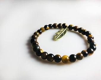 Handmade Bracelet With Tiger Eye Beads & Brass Leaf Charm