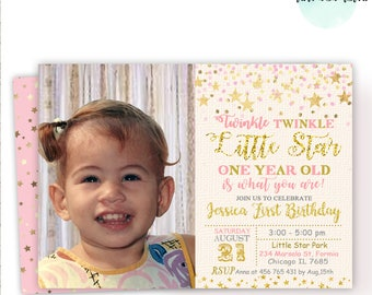 Twinkle Twinkle Little Star Birthday Invitation, Pink and Gold First Birthday Invitation,  Little Star Birthday Party, ANY AGE, Digital File