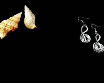 Ethnic Aluminum Earrings Treble Clef dangling earrings aluminum red stone Jewellery Women for Her