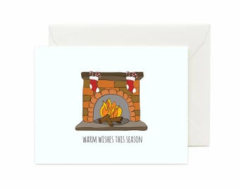 """Fireplace w/ Stockings """"Warm Wishes This Season"""" Greeting Card"""
