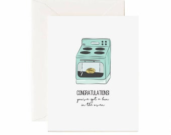 "Oven "" Congratulations, You've Got A Bun In The Oven"" Baby Greeting Card"