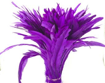 "Purple 12"" - 14"" strung coque rooster tail  feathers"