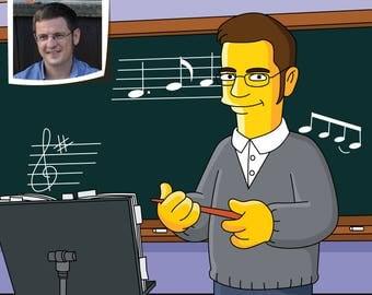 Music Teacher Gift  - Custom Portrait from Photo as Yellow Cartoon Character / Music Teacher Gifts / Music Teacher Caricature