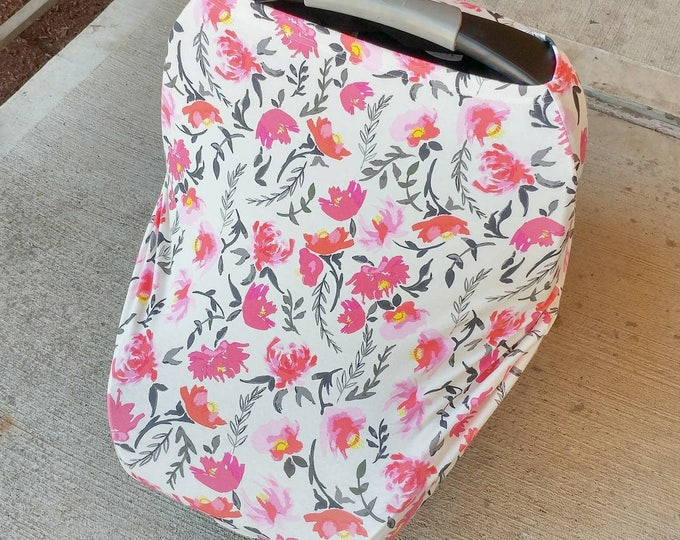 Car Seat Cover/Nursing Cover, stretchy car seat cover || Multiuse Stretch Baby Carseat Cover,pink girl/floral/stripe canopy