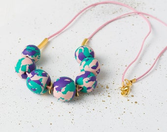 Pink Statement necklace, Modern Bead necklace, Blue Chunky necklace, Geometric Polymer Clay Necklace, Modern jewelry, Geometric gift, Mom