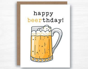 Happy Beerthday - Beer Card - Beer Birthday Card - Birthday Card - Funny Card - Witty Card - Pun Card - Pun Birthday Card - Beer Pun