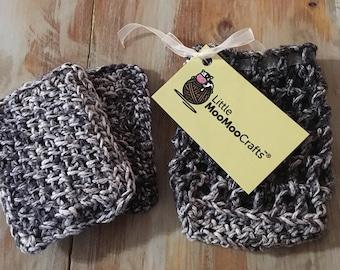 Charcoal spa gift set, bath set, crochet spa set, bridesmaid gifts, bath scrubs, washcloths, soap bag, soap holder,