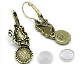 2 Butterfly cabochon earrings