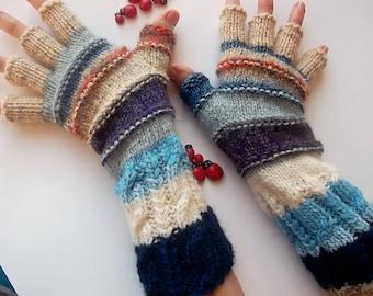 Men Size M 20% OFF Half Fingers OOAK Mittens Multicolor Hand Knitted Gloves Striped Women Warm Accessories Unisex Wrist Warmers Winter 1270