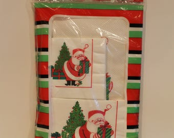 Vintage Christmas Tablecloth - New in Plastic Santa Claus Paper Tablecloth with Matching Napkins -  Made in Canada