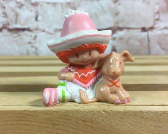 Vintage 1983 Strawberry Shortcake Cafe Ole with Burrito the Donkey Mini PVC Miniature Figure Toy