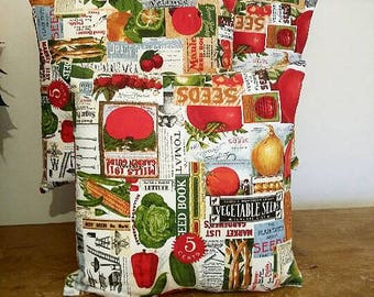 Gardeners Vegetable Seeds Printed Cushion Cover