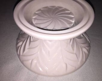 Jeanette Shell Pink Milk Glass Feather Design Punch Bowl REPLACEMENT BASE