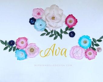 Paper flowers wall decor, baby girl nursery wall decor, large aquamarine blue paper flowers, robin egg blue flowers, navy blue paper flowers
