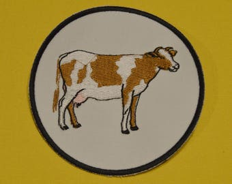 cartoon cow brown embroidered patch