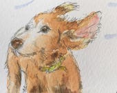 Spaniel ORIGINAL Miniature Watercolour 'Take Off!' ACEO Canine, Dog, For him,For her, Home Decor Wall Art Gift Idea, Free postage worldwide