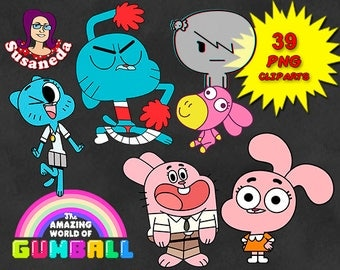 The Amazing World of GUMBALL cliparts, 39 Cliparts Pack, Gumball pngs, transparent background, instant download