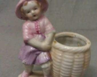 Young Lady- Girl with Basket Iridescent Look Tooth Pick Holder