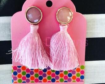 Pink tassel earrings, tassel earrings, tassel jewelry