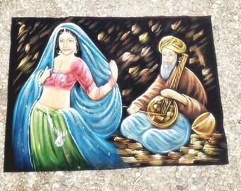 Vintage Velvet Painting 27.5x20 Inches Black Velvet Painting Arabic Painting