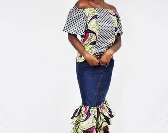 Jamina Navy and Fuchsia Pinwheel African Wax and Denim Maxi Skirt Set, Long Ankara Dress, Women's Long Dress