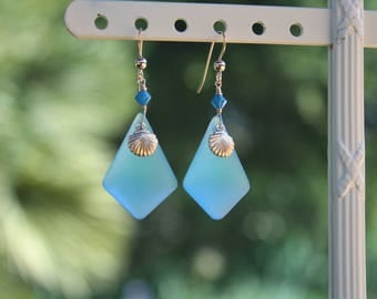 "Glass Dangle Earrings, Pacific Blue ""Sea"" Glass Earrings, Gold Sea Shell Charm Earrings, Crystal and Glass Earrings, Pendant Earrings"