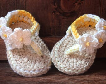 Flower Sandals, Baby Girl, Summer, Crochet