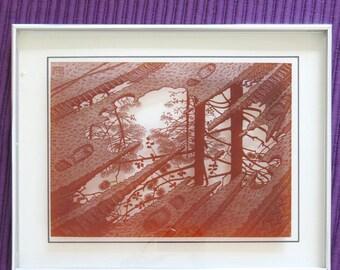 1974 MC ESCHER Lucid Lines Sepia Print on Glass Framed PUDDLES