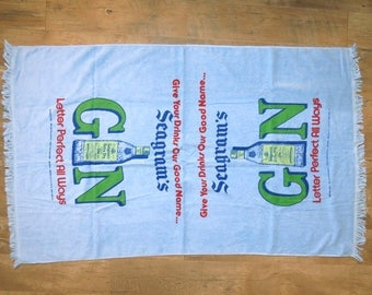 Vintage 80s Seagram's Gin Promo Beach Towel 36x60