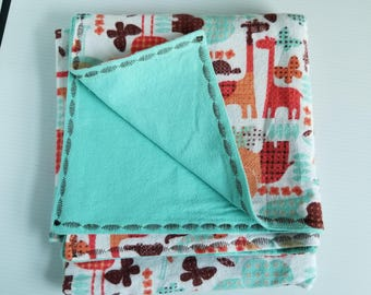 Zoo Flannel Baby Blanket, Receiving Blanket, Flannel Blanket, Baby Blanket, Aqua, Teal, Orange, Elephants-Ready to Ship
