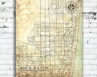 Boca raton etsy boca raton fl canvas print florida vintage map city map town plan vintage wall art gift negle Gallery
