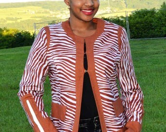 Beautiful African print fabric in linen jacket