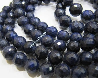Beautiful Natural Blue Sapphire Round Faceted Beads , Far Size Beads 9 to 12mm , Strand 8 inch long , Precious Gemstone Beads , Birth Stone.