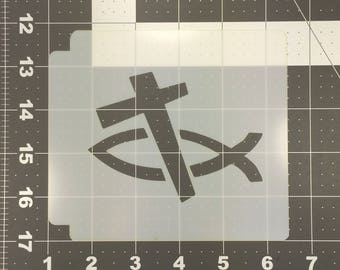 Christian Fish and Cross Stencil 100