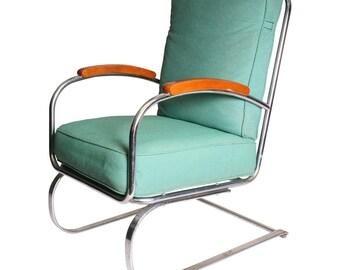 Art Deco Chrome ARM CHAIR accent cantilever blue 30s Kem Weber Springer space age 40s 50s eames era side accent spring bounce