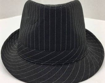 am's Rock Headwear Black with White Pinstripe Fedora