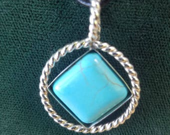 Style#0174 - NA Silver 14mm Blue Turquoise Service Symbol . Twisted Sterling Silver Wire & Turquoise Stone