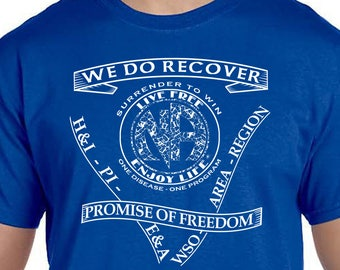 NA - SERVICE & SLOGANS  T-shirt - Color Options - S-3X - 100% cotton - Free Shipping - Narcotics Anonymous