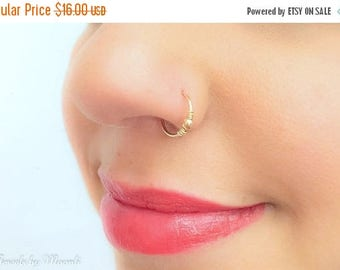 SALE - Thin beaded nose ring - Gold nose ring - Tiny hoop nose ring -  Tiny ball nose ring - Piercing hoop - beaded catrilage hoop