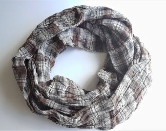White/Brown/Grey Plaid Scrunched Infinity Scarf