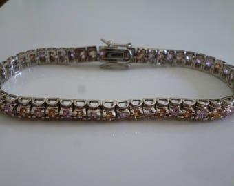 Bracelet d'une élégance de Quartz rose et Quartz fumé argent**Expédition gratuite au Canada**Free shipping to Canada