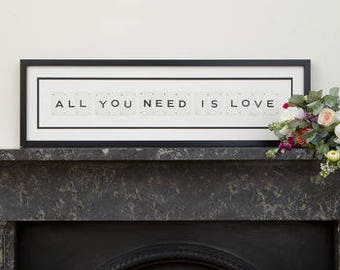 All You Need Is Love Vintage Frame by VINTAGE PLAYING CARDS