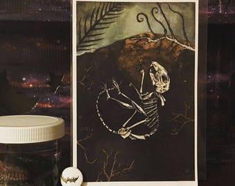 Return In Search of Bones - Animal skeleton illustration, gold leaf and gouache fine art print