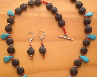 Lava rock teardrop turquoise and coral necklace and earring set