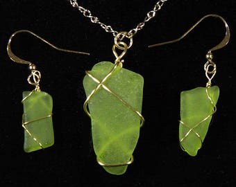 Green sea-glass pendant and earring set