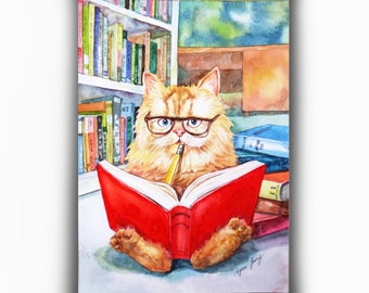 Cat Original Watercolor Painting, Reading Cat in Library, Funny Cat Illustration, Whimsical Wall Art, Nursery Decor, Small Children Art