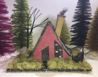 Mid century modern style A-frame glitter paper house