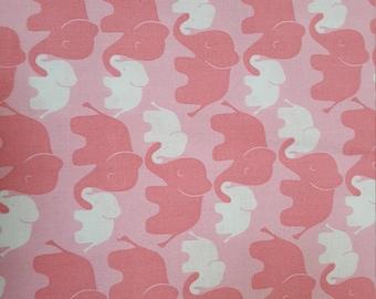 Baby Mine Pink Elephants Cotton Fabric Emma & Mila by the Yard